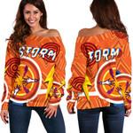 Storm Women Off Shoulder Sweater Simple Indigenous - Orange