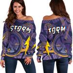 Storm Women Off Shoulder Sweater Simple Indigenous - Purple