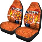 Storm Car Seat Covers Simple Indigenous - Orange