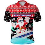 New Zealand Santa Christmas Polo Shirt Pohutukawa Front | 1stnewzealand