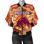 Brisbane Women's Bomber Jacket Broncos Indigenous Warm Vibes K8