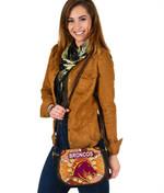 Brisbane Canvas/Leather Saddle Bag Broncos Indigenous Warm Vibes K8