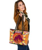 Brisbane Small Leather Tote Broncos Indigenous Warm Vibes K8