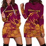Brisbane Women's Hoodie Dress Broncos Indigenous K8