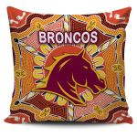 Brisbane Pillow Cover Broncos Indigenous Warm Vibes K8