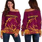 Brisbane Women Off Shoulder Sweater Broncos Indigenous