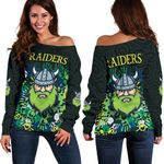 Canberra Women Off Shoulder Sweater Raiders Viking Simple Indigenous K8