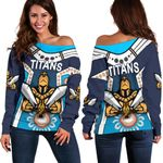 Gold Coast Women's Off Shoulder Sweater Titans Gladiator Simple Indigenous K8