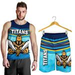Combo Men Tank Top and Men Short Gold Coast Titans Gladiator