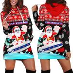 New Zealand Santa Christmas Women Hoodie Dress Pohutukawa Fern And Kiwi | 1st New Zealand