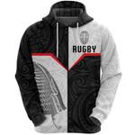 New Zealand Rugby Maori Zip Hoodie Silver Fern Moko K8