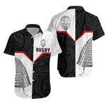 New Zealand Rugby Maori Hawaiian Shirt Silver Fern Moko K4