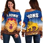 Brisbane Lions Women Off Shoulder Sweater Simple Indigenous