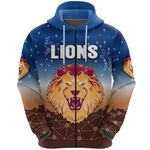 Brisbane Lions Zip Hoodie Simple Indigenous