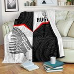 New Zealand Rugby Maori Premium Blanket Silver Fern Moko K8