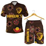 Combo Polo Shirt and Men Short Hawthorn Hawks Indigenous - Brown K8