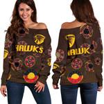 Hawthorn Women Off Shoulder Sweater Hawks Indigenous - Brown