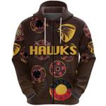 Hawthorn Zip Hoodie Hawks Indigenous - Brown