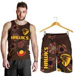 Combo Men Tank Top and Men Short Hawthorn Hawks Indigenous - Brown