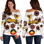 Hawthorn Women Off Shoulder Sweater Hawks Indigenous - White
