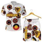 Combo Polo Shirt and Men Short Hawthorn Hawks Indigenous - White K8