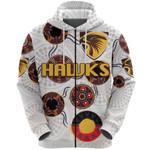 Hawthorn Zip Hoodie Hawks Indigenous - White
