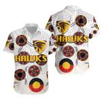 Hawthorn Hawaiian Shirt  Hawks Indigenous - White