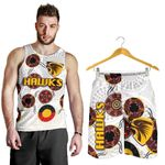 Combo Men Tank Top and Men Short Hawthorn Hawks Indigenous - White