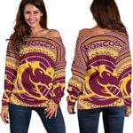 Brisbane Off Shoulder Sweater Broncos Aboriginal TH5