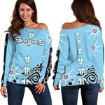 Sharks Women's Off Shoulder Sweater Sky Blue