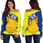 CSK Women Off Shoulder Sweater Cricket Sporty Style