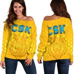 CSK Women Off Shoulder Sweater Cricket Traditional Pride - Yellow