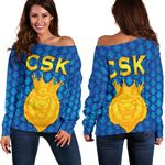 CSK Women Off Shoulder Sweater Cricket Traditional Pride - Blue