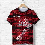 Aotearoa T Shirt Heart Hei Matau Red K12
