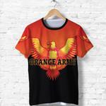 Orange Army T Shirt Cricket Orange Vibes - Black