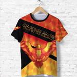 Orange Army T Shirt Cricket Sporty Style