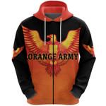 Orange Army Zip Hoodie Cricket Cool Vibes - Orange