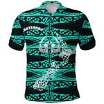 Aotearoa Polo Shirt Heart Hei Matau Turquoise K12