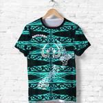Aotearoa T Shirt Heart Hei Matau Turquoise K12