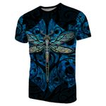 Dragonfly Paua Shell T-Shirt Mix Maori Tattoo Blue