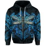 Dragonfly Paua Shell Zip-Hoodie Mix Maori Tattoo Blue
