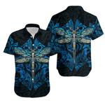 Dragonfly Paua Shell Hawaiian Shirt  Mix Maori Tattoo Blue