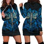 Dragonfly Paua Shell Women's Hoodie Dress Mix Maori Tattoo Blue