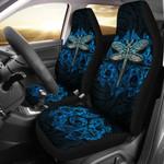 Dragonfly Paua Shell Car Seat Covers Mix Maori Tattoo Blue