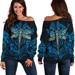 Dragonfly Paua Shell Women's Off Shoulder Sweater Mix Maori Tattoo Blue