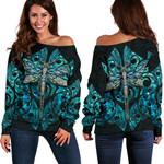 Dragonfly Paua Shell Women's Off Shoulder Sweater Mix Maori Tattoo