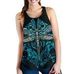 Dragonfly Paua Shell Women's Racerback Tank Mix Maori Tattoo
