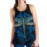 Dragonfly Paua Shell Women's Racerback Tank Mix Maori Tattoo Blue