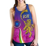 India Cricket Women Racerback Tank - Rajasthan Royals Version RR Front | rugbylife.co