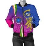 India Cricket Women Bomber Jacket Rajasthan Royals Version RR Front   rugbylife.co